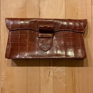 BROWN CROCODILE SKIN CLUTCH BAG - ARGENTINA
